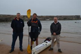 MP and Village Community Welcomes Fundraising Kayaker to Collieston
